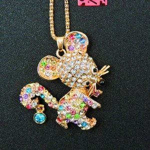 NWT•Betsy Multi color crystal Mouse long necklace